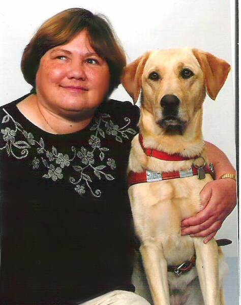 Annie & guide dog Gladys.  Annie & I have been friends since we met at GEB in 1985 as we trained with our first guide dogs together.